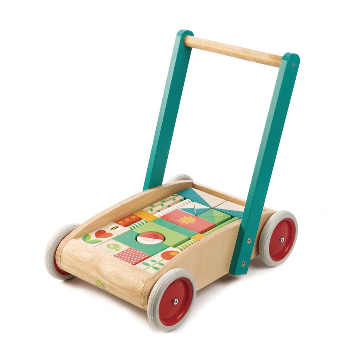 Chariot de marche avec 29 blocs de construction - Tender Leaf Toys