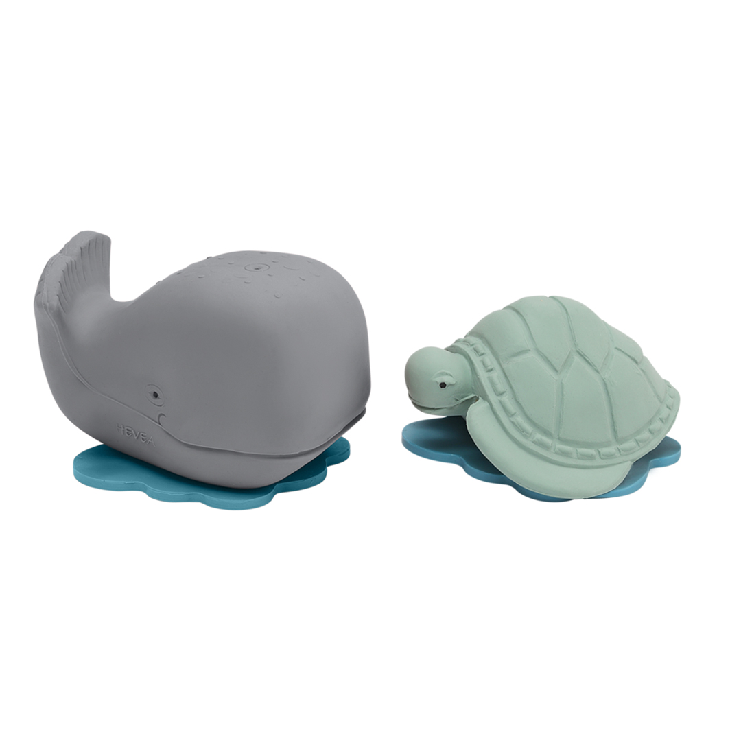 Ingolf la baleine et Dagmar la tortue  coffret cadeau de bain Hevea