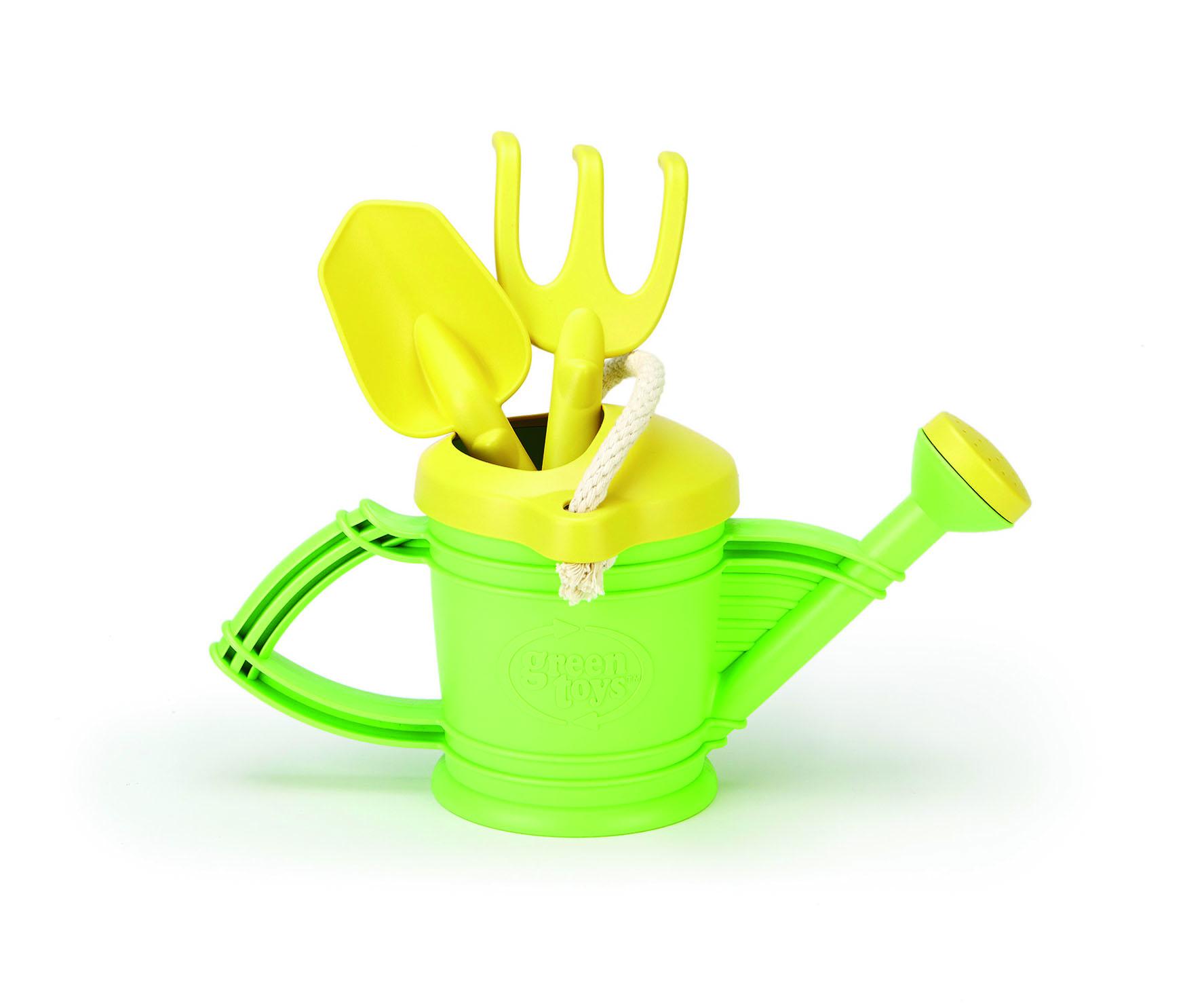 Arrosoir Green Toys avec pelle et râteau