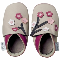 Chaussons en cuir Bobux soft soles écru floraison