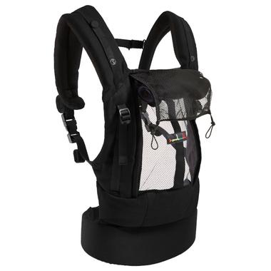 Porte-bébé Physiocarrier tablier noir poche anthracite - JPMBB ouvert