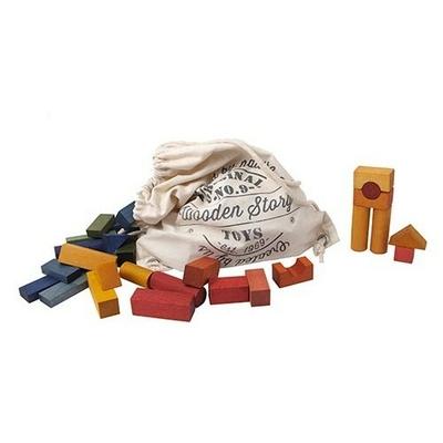 Blocs en bois Arc en Ciel en sac - 100 pièces