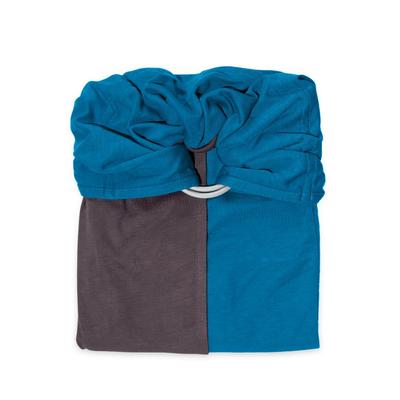 Echarpe de portage Sans Nœud JPMBB - Bleu Canard Marron Glacé