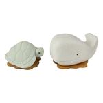 jouet de bain hevea squeeze n splash - baleine et tortue frosty white et sage