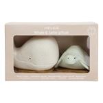 jouet de bain hevea squeeze n splash - baleine et tortue frosty et sage