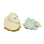 jouet de bain hevea en caoutchouc naturel - canard et grenouille