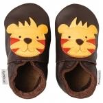 Chaussons en cuir Bobux tigre brun et jaune
