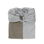 la petite echarpe sans noeud gris chine olive reversible
