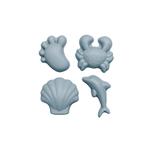 Set de 4 moules de plage en silicone - Scrunch - bleu oeuf de canard