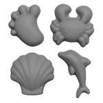 Set de 4 moules de plage en silicone - Scrunch - gris