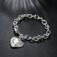 Bracelet Maille suspension double coeur argent 925S
