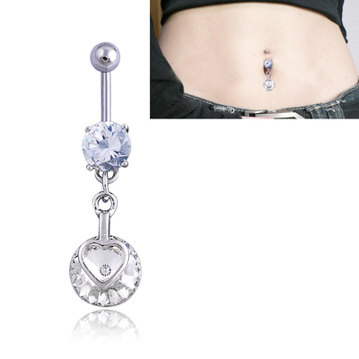 Piercing suspension Coeur Cristal