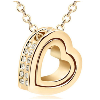 Collier double coeur strass doré