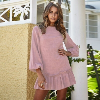 2018-Automne-Hiver-Femmes-Mini-Robe-Sexy-O-Cou-Manches-Longues-Ruches-Robes-Courtes-Casual-Streetwear