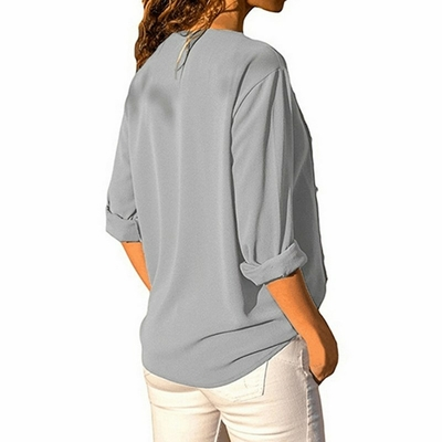 Laamei-Femmes-Tops-Et-Chemisier-Boutons-Irr-guli-re-Diagonale-Manches-Longues-Casual-Solides-Manches-Longues