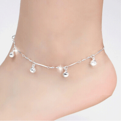 Bracelet Cheville suspension boule argent