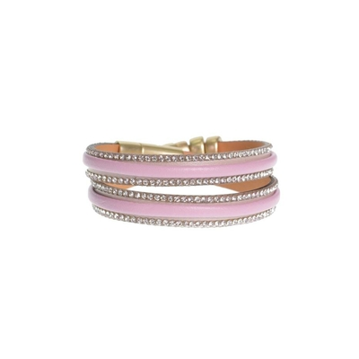 Bracelet en cuir  double tours bordé de strass Couleur  Rose