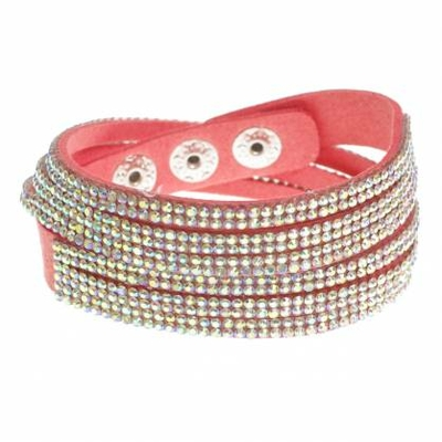 Bracelet double tours  6 rangs de strass Orange AB