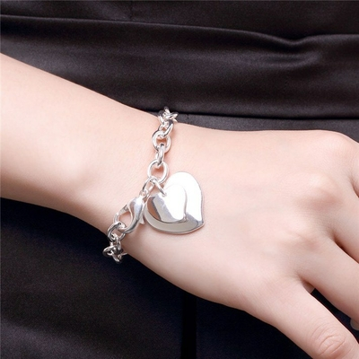 bracelet maille coeur double en suspension (1)