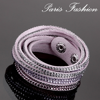 Bracelet double tours 6 rangs de strass-Lilas-15 mm