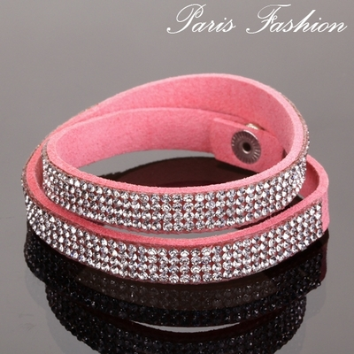 Bracelet double tours-4 rangs de strass-Rose-9 mm