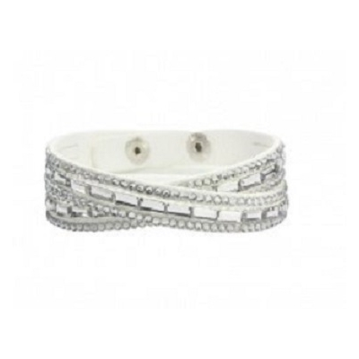 Bracelet double blanc brillant cristaux rectangle