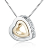 Collier double coeur strass