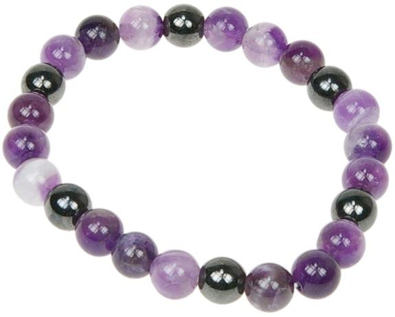 Bracelet Améthyste et Hématite | Perles de 8 mm
