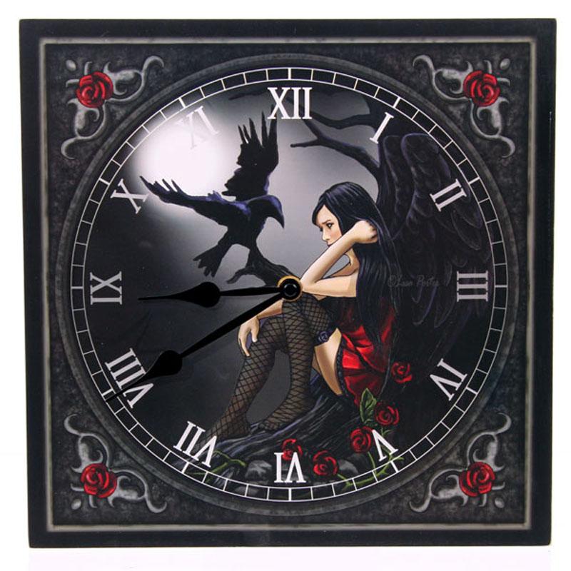 Horloge imprimée- Ange sombre avec Corbeau par Lisa Parker