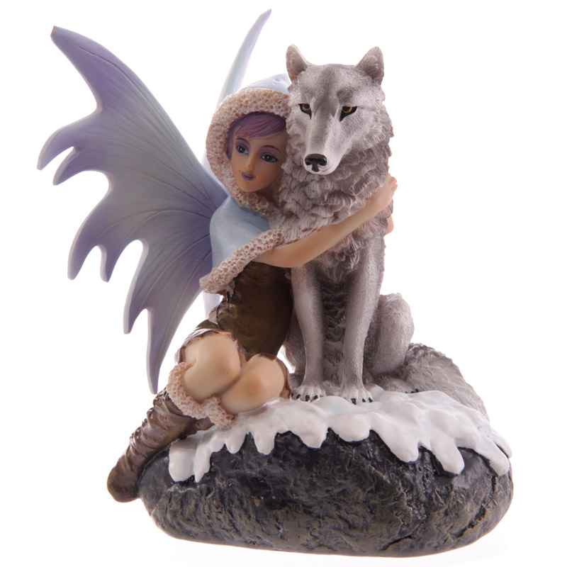 Figurine Fée avec Loup des Neiges (Natasha Faulkner)