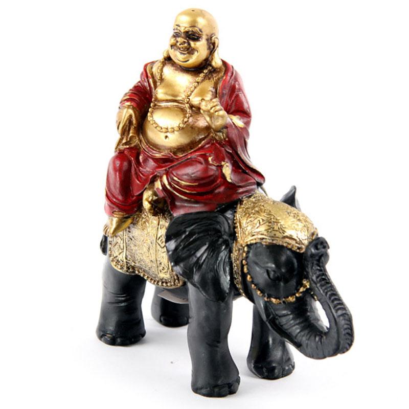 Bouddha Rieur sur Eléphant, Noir et doré (B)