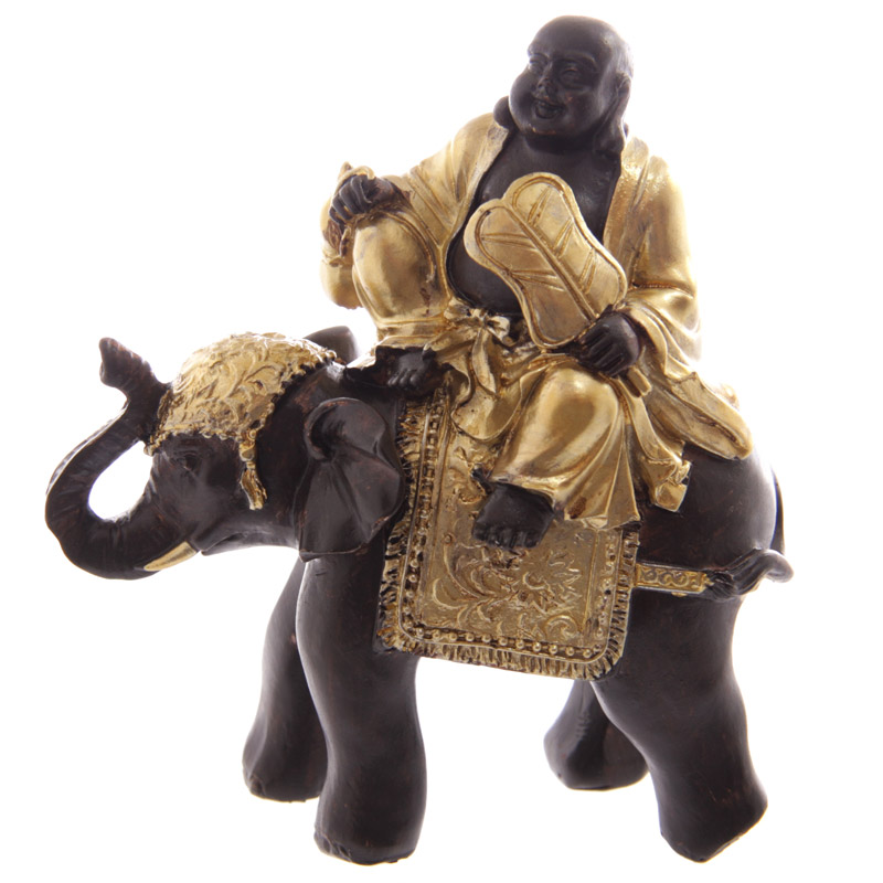 Gros Bouddha Rieur Chinois Or & Marron Sur Elephant (B)