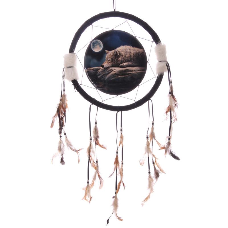 Attrape-rêve Imprimé Loup Sous La Lune 33cm
