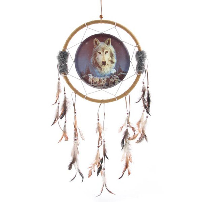 Attrape Rêves Loup, L\'esprit du loup veille 33cm