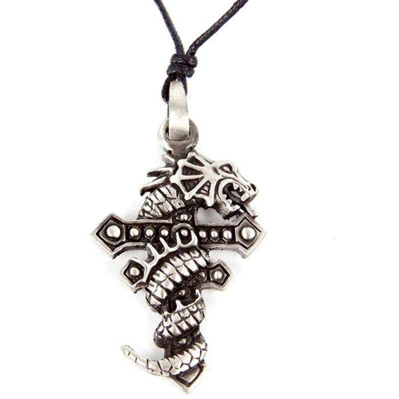 Pendentif Dragon Etain - croix