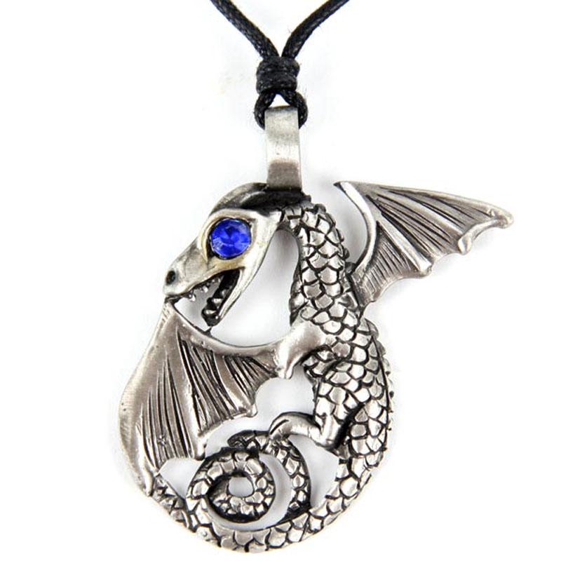 Pendentif Dragon Etain - Oeil saphir