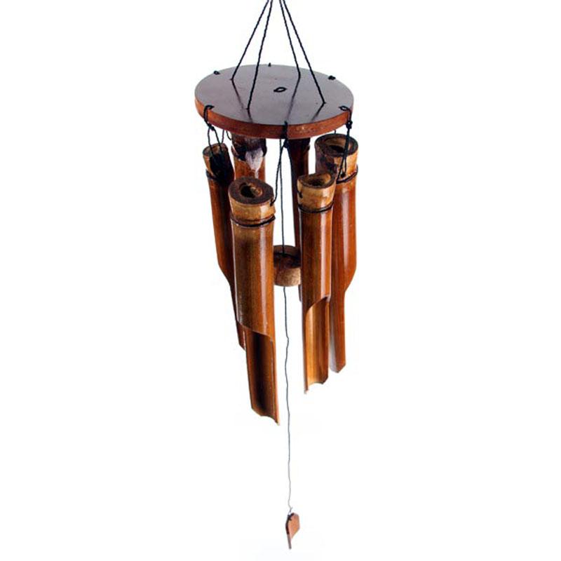 Carillon à vent Bambou foncé 6 tubes, Petit