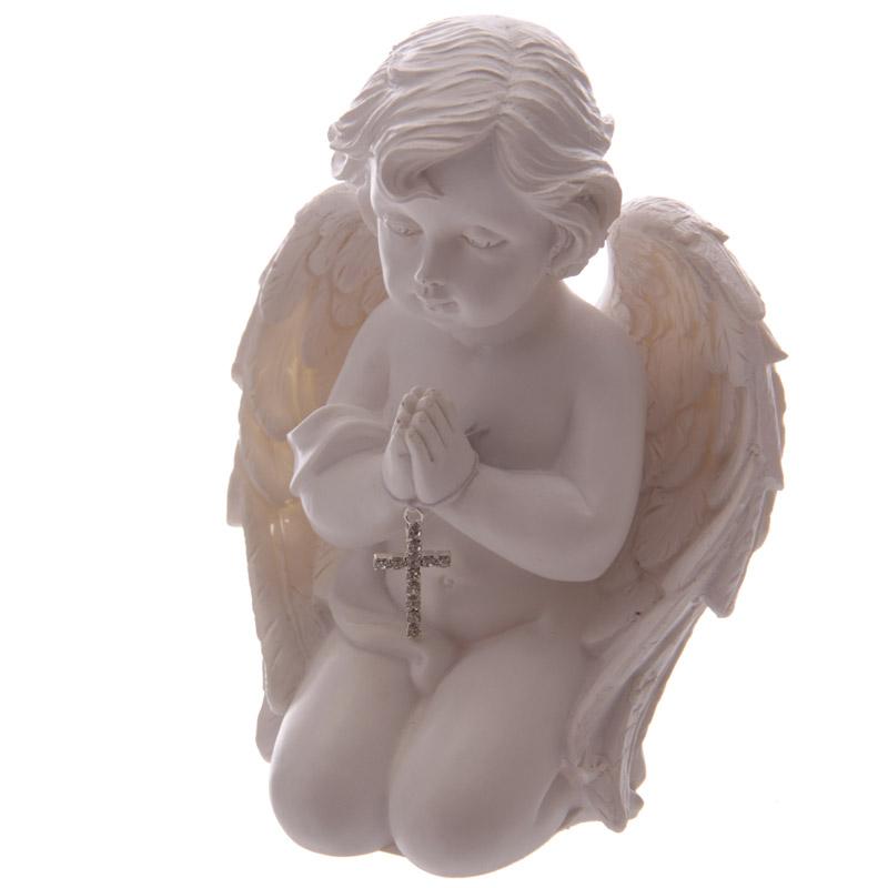 Chérubin en train de prier avec croix - Chérubin de 13 cm