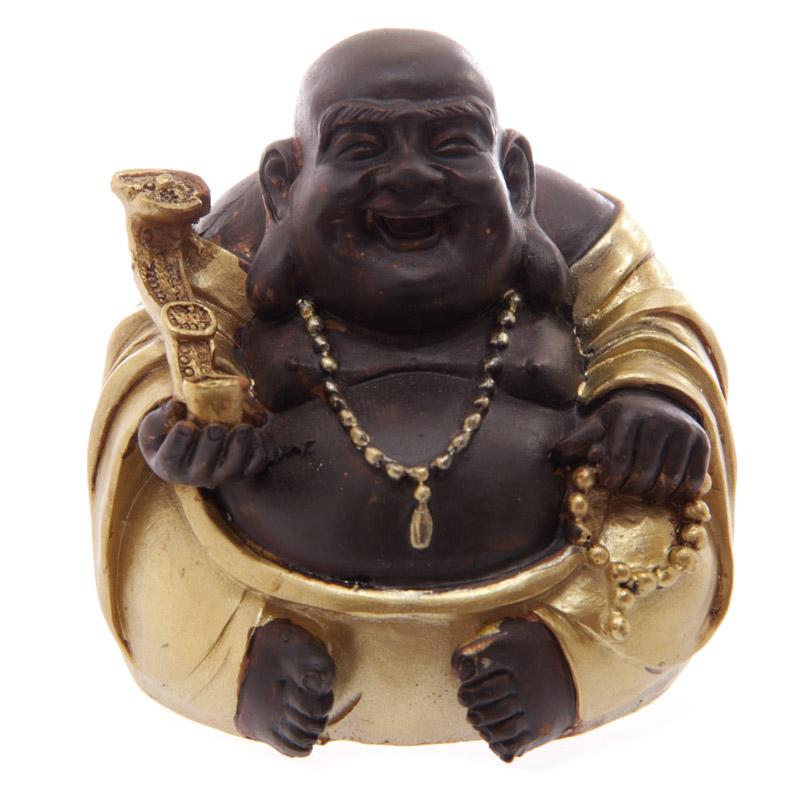 Bouddha Rieur Chinois Or Et Marron Avec Fortune A