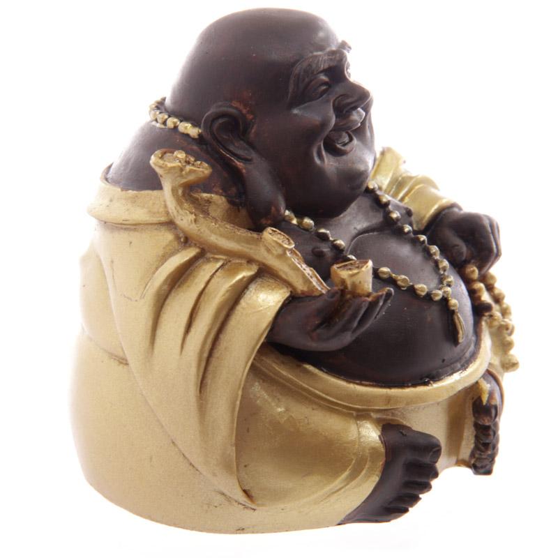 bouddha rieur chinois or et marron avec fortune a statuettes et figurines bouddhas. Black Bedroom Furniture Sets. Home Design Ideas