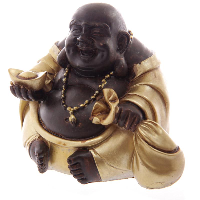 bouddha rieur chinois or et marron avec fortune b statuettes et figurines bouddhas. Black Bedroom Furniture Sets. Home Design Ideas