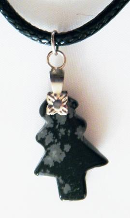 Pendentif Sapin Obsidienne Flocon