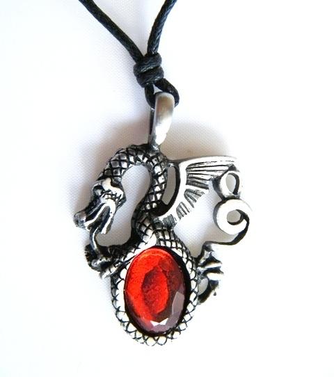 Pendentif Dragon Etain - rubis