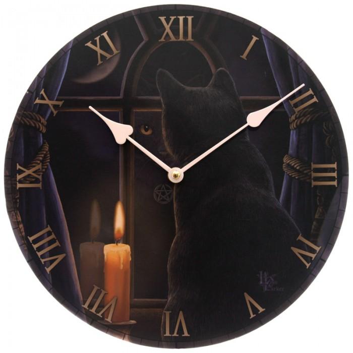 Horloge ronde - Chat gardien de nuit par Lisa Parker