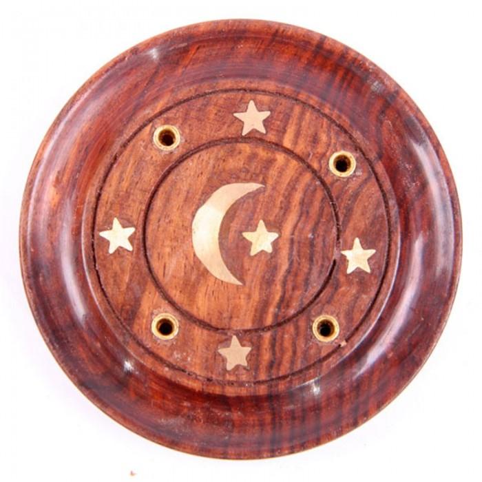 Attrape-cendres-rond-lune-étoiles-bois-de-sheesham