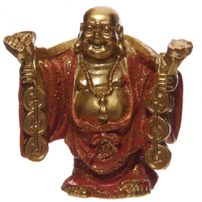 Figurine - Bouddha porte-bonheur, Orange (A)