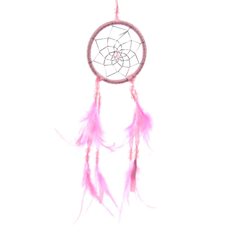 Attrape-rêves en Plumes & Rubans Roses 8cm