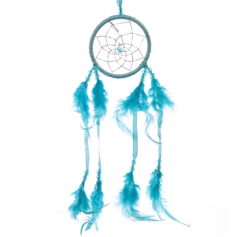 Attrape–rêves en Plumes & Rubans Turquoise 8cm