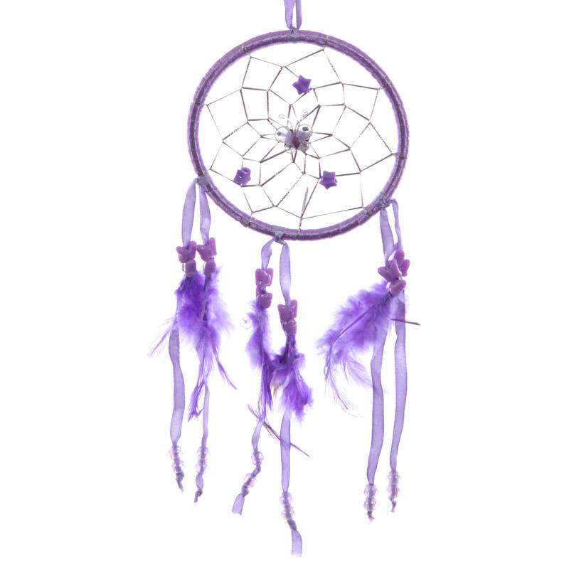 Attrape-rêves en Plumes & Rubans Violets 11cm