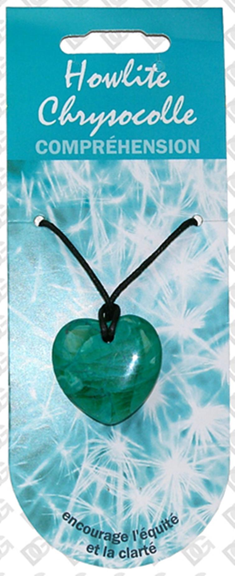 Pendentif Coeur en Howlite Chrysocolle - Vertu